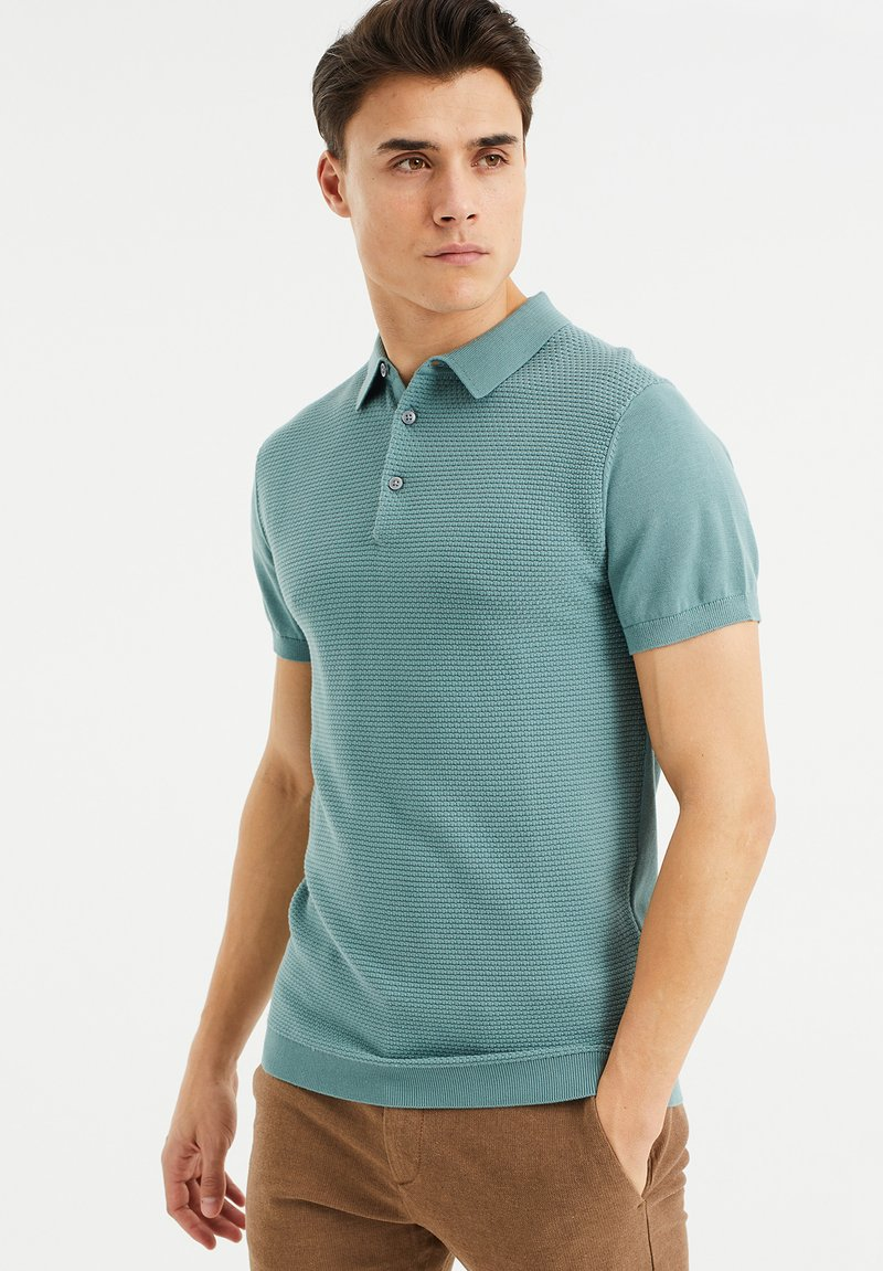 WE Fashion - MET STRUCTUUR - Poloshirt - greyish green