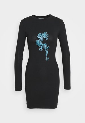 DRAGON GRAPHIC PRINT DRESS - Jersey dress - black