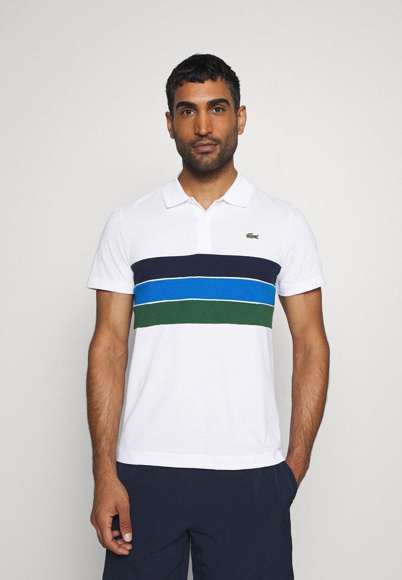 Lacoste Sport - RAINBOW STRIPES - Poloshirt - blanc /vert/bleu/bleu marine