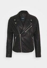 Abercrombie & Fitch - BIKER - Faux leather jacket - black - 0