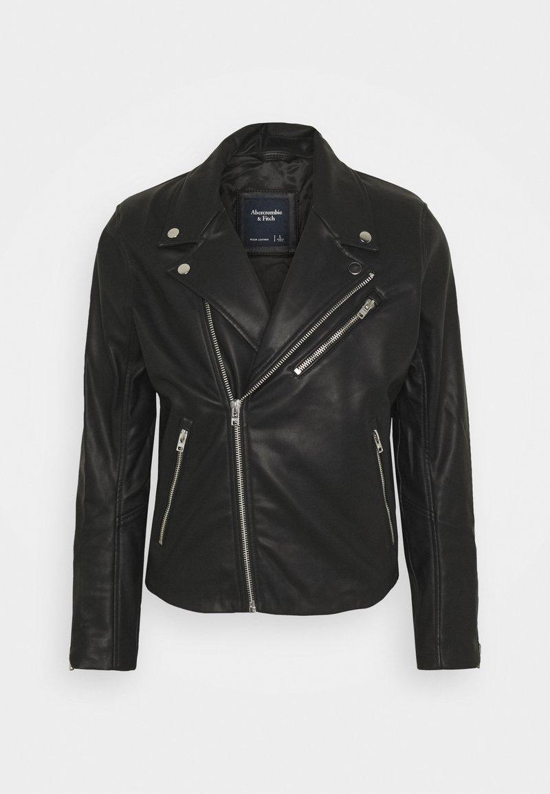 Abercrombie & Fitch - BIKER - Faux leather jacket - black