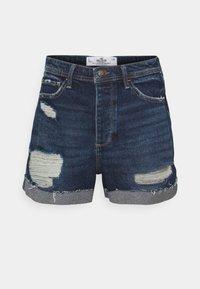 MOM CURVY DARK DEST  - Denim shorts - dark destroy