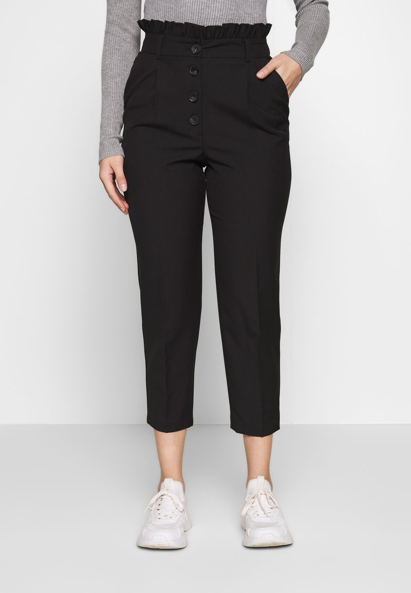 Miss Selfridge Petite - BUTTON FRILL TOP PAPERBAG - Pantalon classique - black