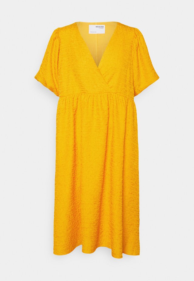 SLFLISSY MIDI WRAP DRESS - Vestito estivo - citrus