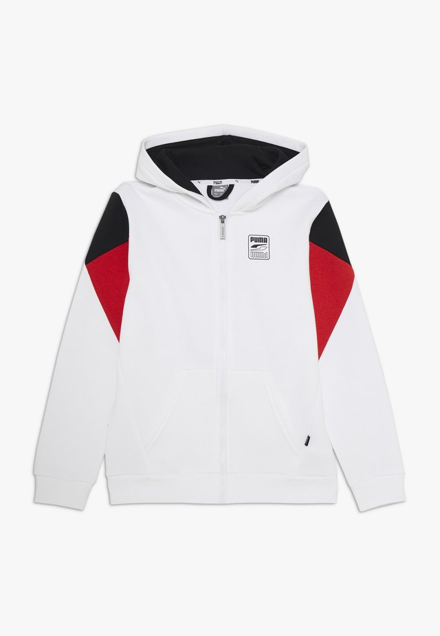 REBEL BLOCK FULL ZIP HOODIE - Huvtröja med dragkedja - white