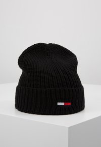 Tommy Jeans - BASIC FLAG BEANIE UNISEX - Muts - black - 0
