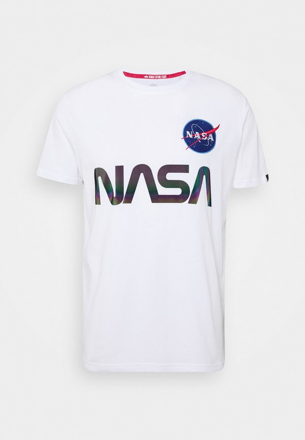 Alpha Industries NASA RAINBOW - T-shirt z nadrukiem - white/biały Odzież Męska WXTU