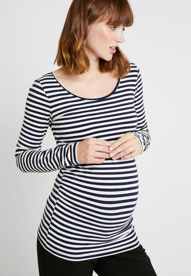T-shirt à manches longues - off-white/dark blue