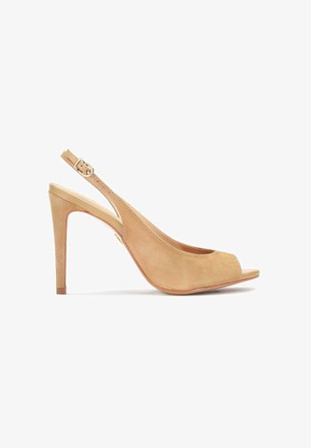 MEGAN  - Peeptoe heels - light brown