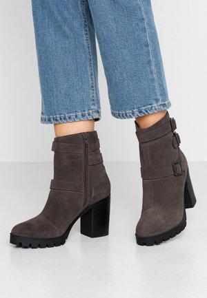 Cowboy/biker ankle boot - dark gray