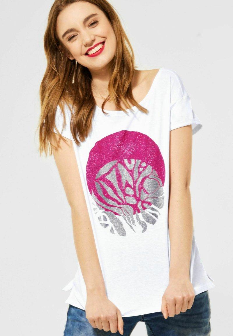 Street One - MIT PARTPRINT - Print T-shirt - weiß