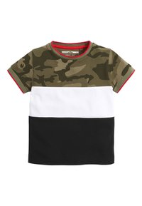 Next - BLACK/GREEN CAMO COLOURBLOCK PIQUE T-SHIRT (3MTHS-7YRS) - Triko s potiskem - green - 0