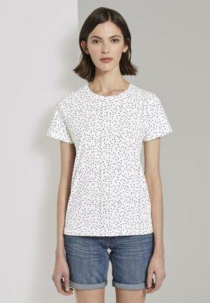 Print T-shirt - offwhite black dot print
