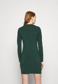 Even&Odd - Mini high neck long sleeves bodycon dress - Shift dress - dark green - 2