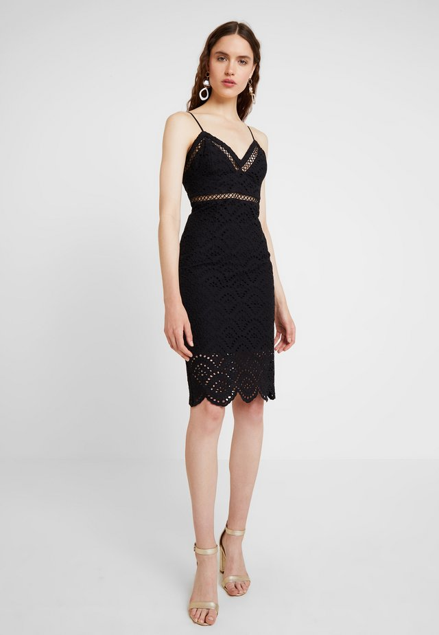 SOFIA EMBROIDERED DRESS - Juhlamekko - black