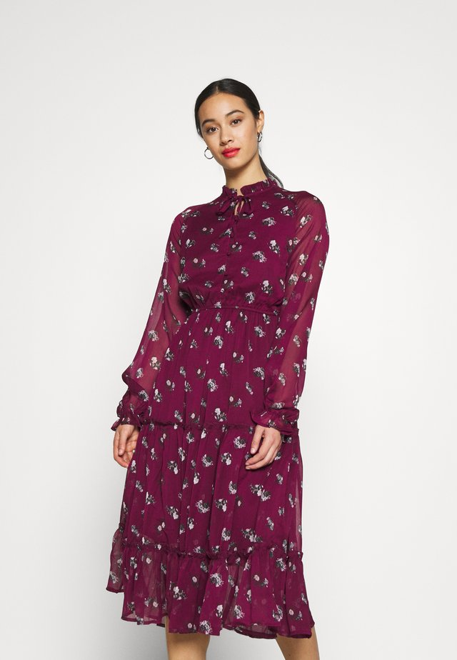 FRILL NECK MIDI DRESS - Day dress - dark red