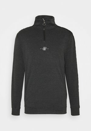 SIKSILK TONAL CHECK QUARTER ZIP  - Stickad tröja - grey