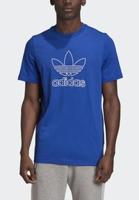 adidas Originals - TREFOIL LOGO OUTLINE T-SHIRT - Print T-shirt - blue - 3