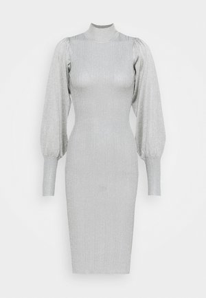 METALLIC PUFF SLEEVE MIDI DRESS - Jumper dress - silver