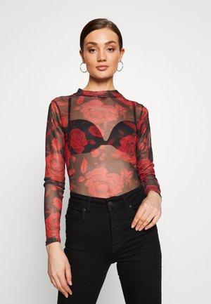 ROSE PRINT HIGH NECK LONG SLEEVE - Long sleeved top - black