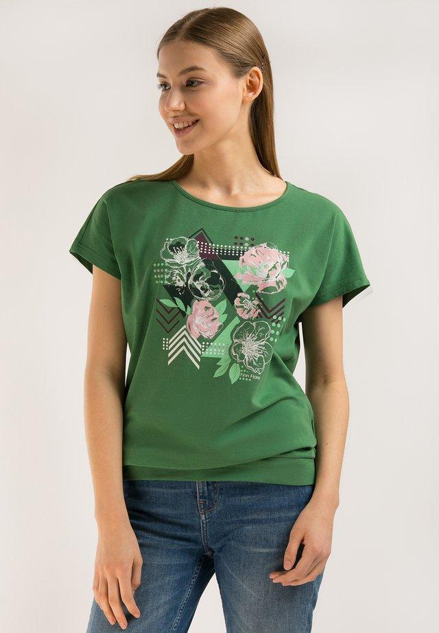 MIT FARBIGEM FRONT-DRUCK - T-shirt imprimé - green