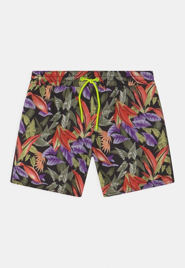 PRINT - Swimming shorts - black/green