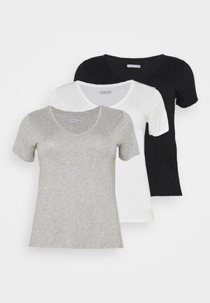 3 PACK - T-shirt basique - black /white/light grey