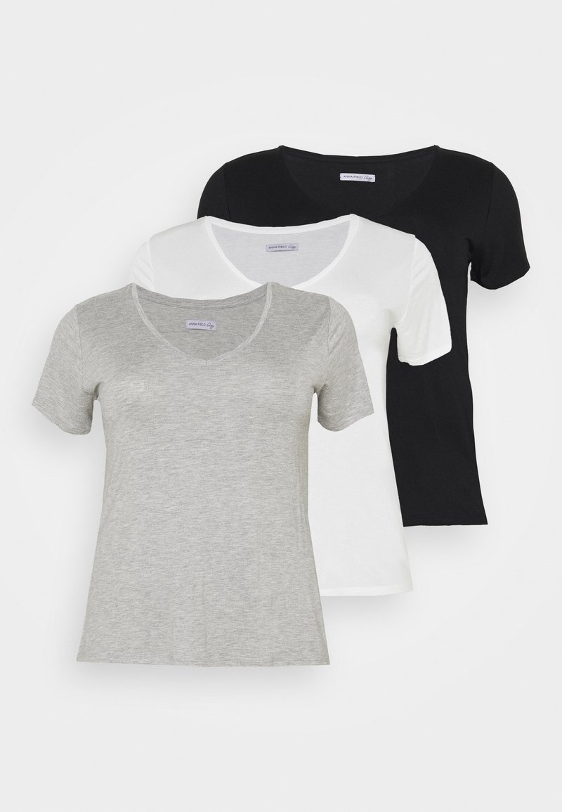 Anna Field Curvy - 3 PACK - T-shirt basic - black /white/light grey
