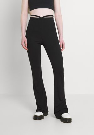 STRAP FRONT FLARES - Trousers - black