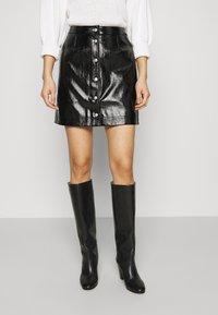 Calvin Klein Jeans - HIGH SHINE MINI SKIRT - A-line skirt - black - 0