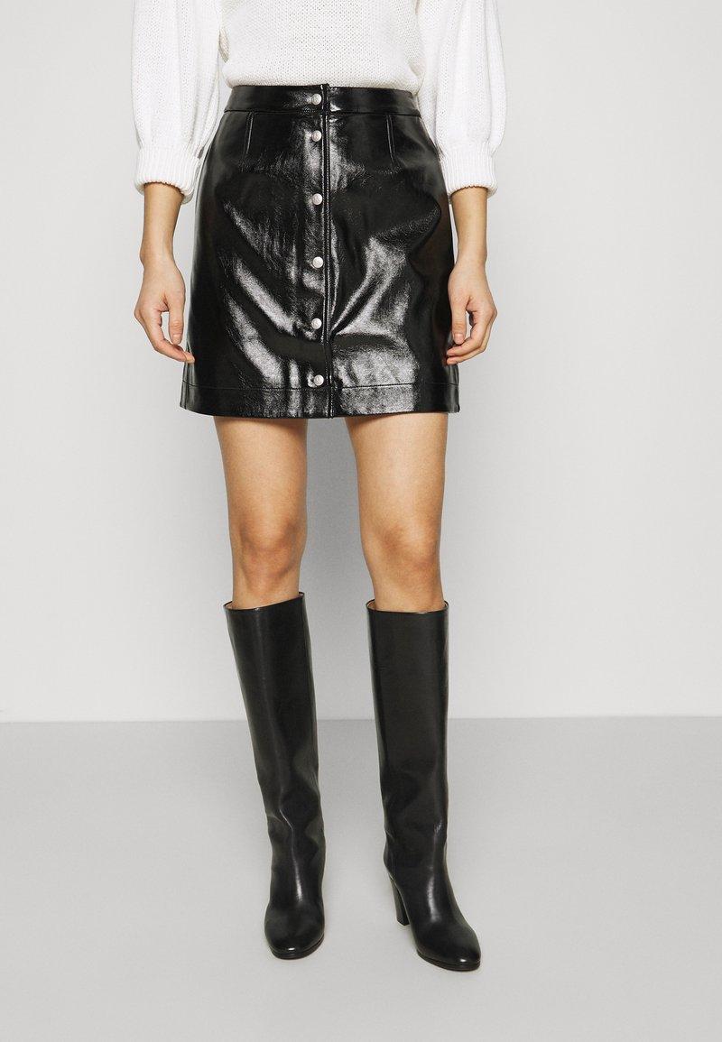 Calvin Klein Jeans - HIGH SHINE MINI SKIRT - A-line skirt - black