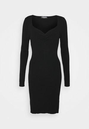 OBERLIN GATHERED DETAIL KNIT DRESS - Kotelomekko - black