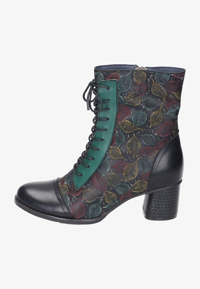Lace-up ankle boots - black multi