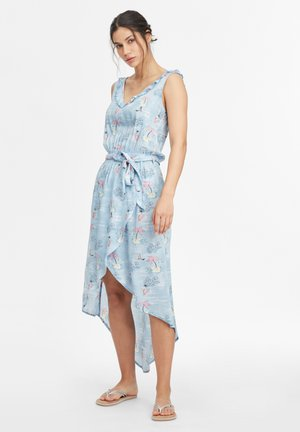 Day dress - blue with pink or purple