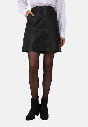 JOHANNA - Leather skirt - black