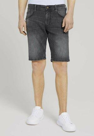 Denim shorts - metallic black