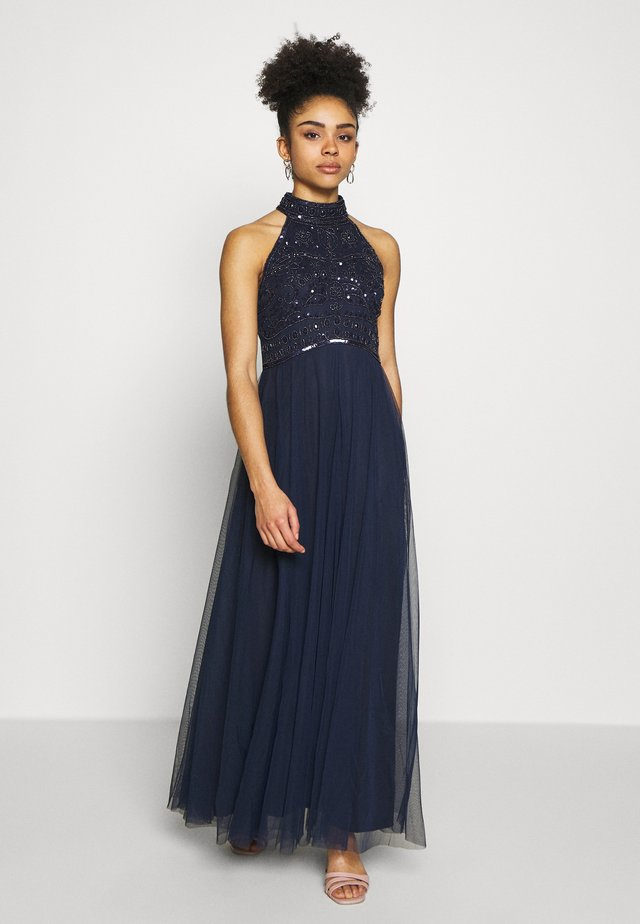 ELEANOR ENAMEL BEADED HALTER MAXI DRESS - Galajurk - navy