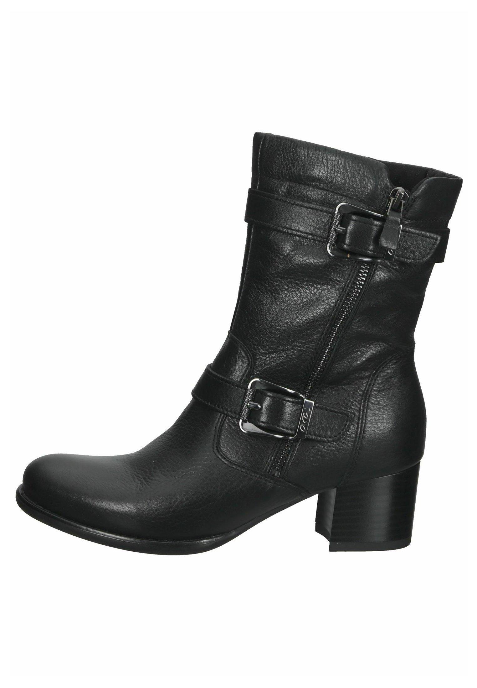 Damen Cowboy-/Bikerstiefelette - schwarz