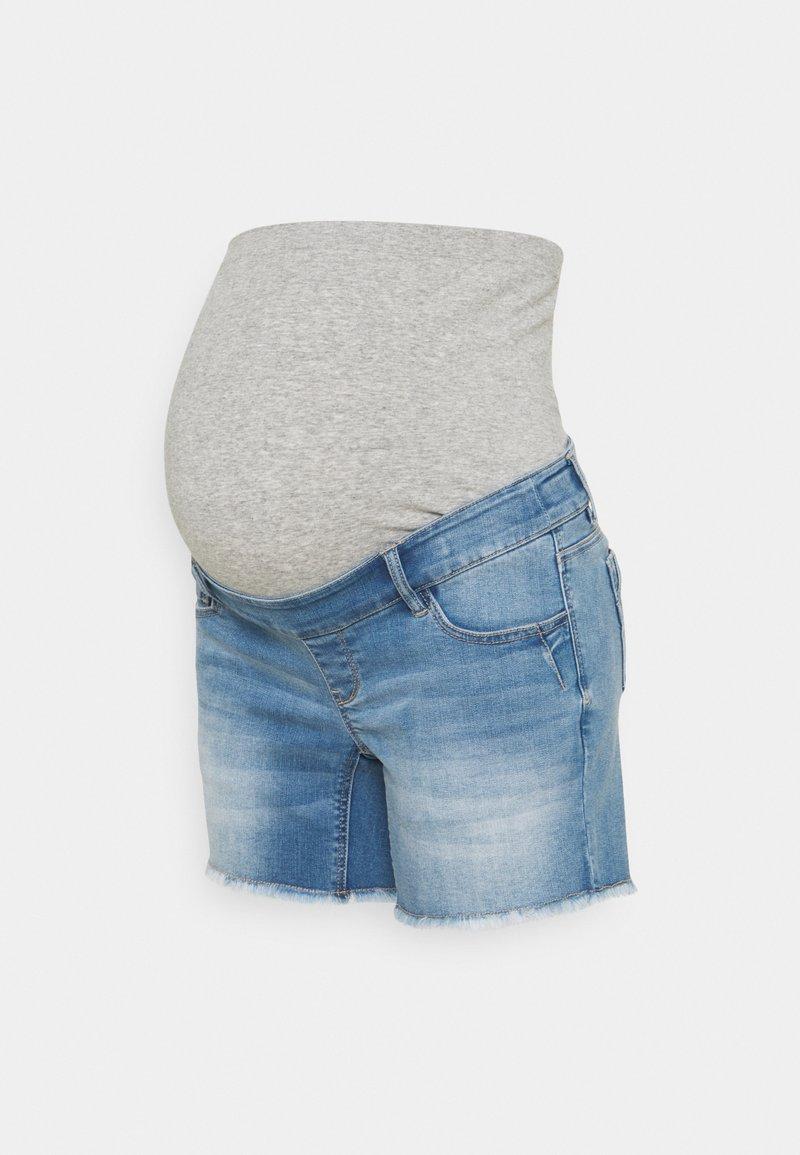 MAMALICIOUS - MLMARTINE BUMPBAND SLIM - Denim shorts - light blue denim