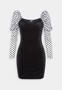 Missguided - VELVET FLOCKED SPOT SLEEVE DRESS - Cocktail dress / Party dress - black - 0