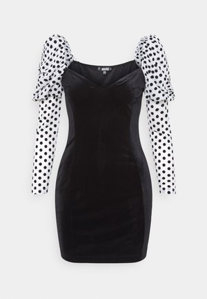 VELVET FLOCKED SPOT SLEEVE DRESS - Cocktailjurk - black