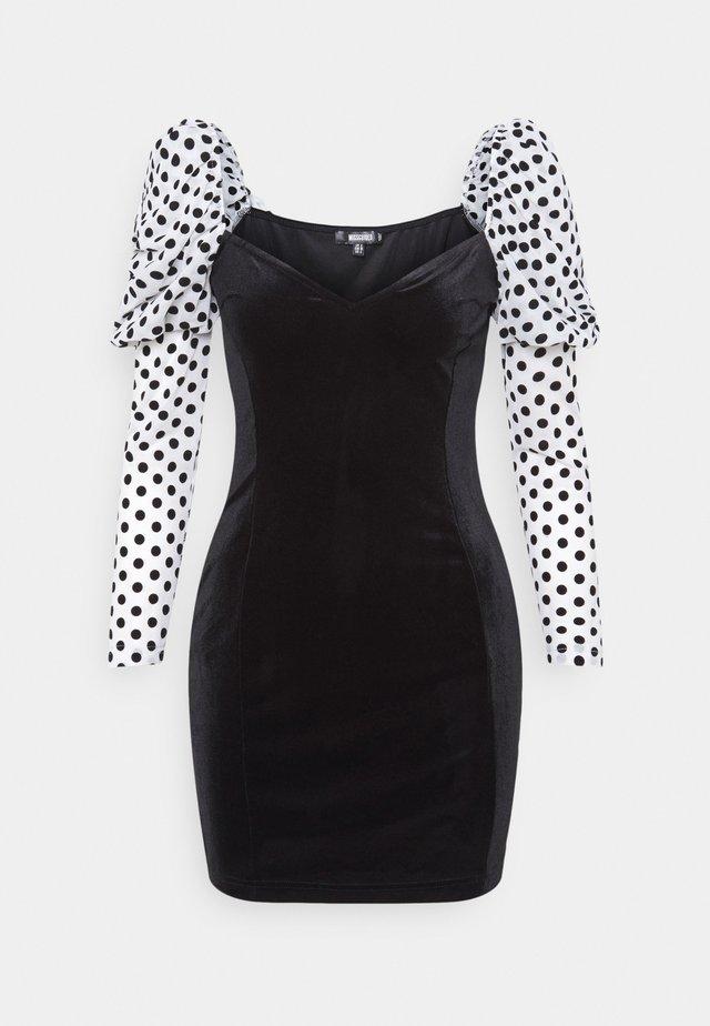 VELVET FLOCKED SPOT SLEEVE DRESS - Cocktail dress / Party dress - black