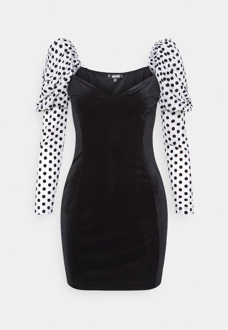 Missguided - VELVET FLOCKED SPOT SLEEVE DRESS - Cocktail dress / Party dress - black