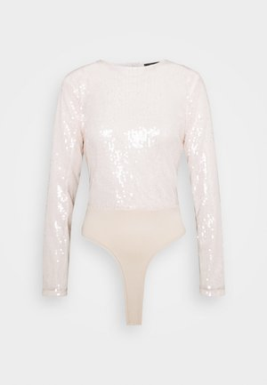 ALL OVER SEQUIN LONG SLEEVE BODYSUIT - Long sleeved top - ivory
