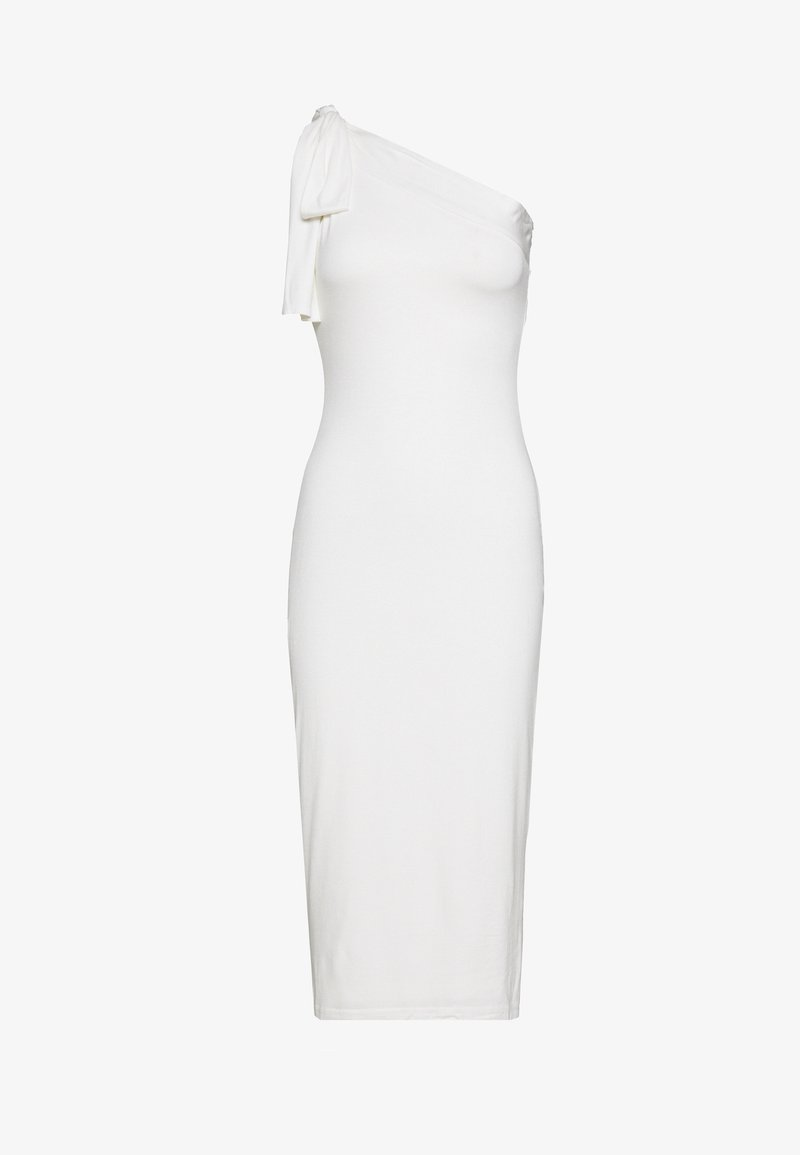 Lost Ink - TIE SHOULDER BODYCON MIDI DRESS - Korte jurk - white