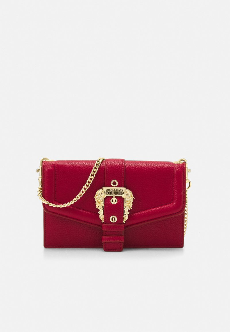 Versace Jeans Couture - GRANA BUCKLE CROSSBODY - Across body bag - blood
