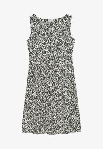 Jersey dress - khaki/offwhite