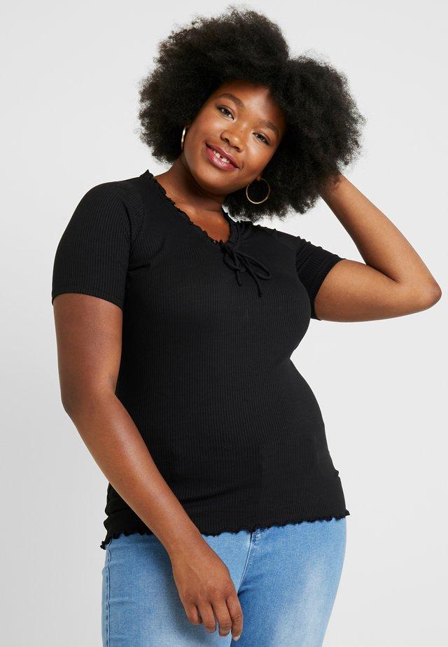 RUFFLE NECK LINE - T-shirts - black
