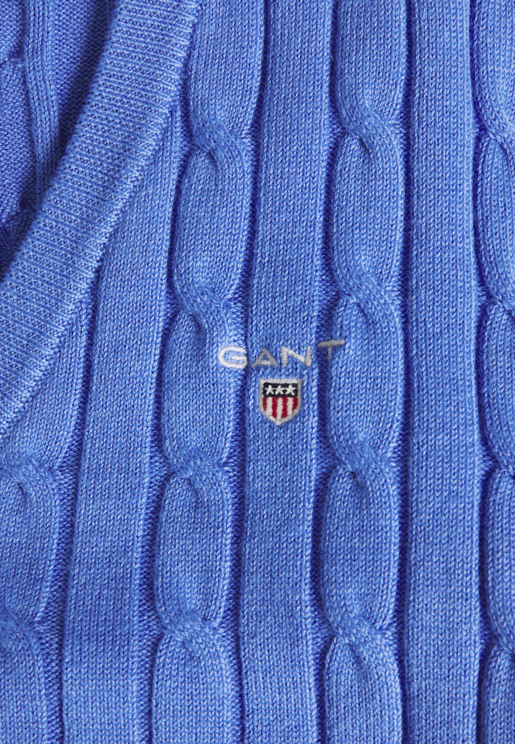 GANT STRETCH CABLE V NECK - Pullover - pacific blue 1MwDH896