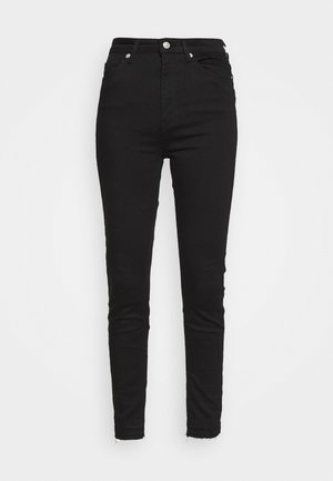 SKINNY HIGH WAIST OPEN HEM - Jeans Skinny Fit - black